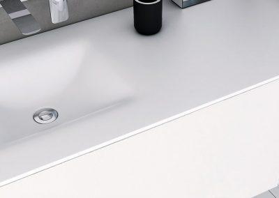 Maatwerk in corian - badkamer op maat - wastafel